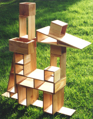 picture of hollow blocks used to create a tower